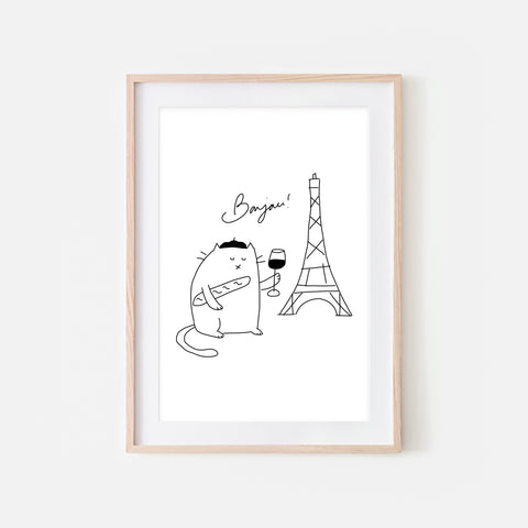 Bonjour French White Cat in Paris Wall Art - Funny Cute Line Drawing Illustration - Print, Poster or Printable Download
