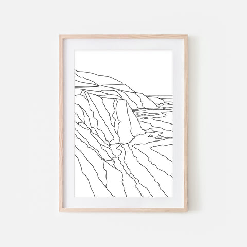 Big Sur, California - Beach Wall Art - Black and White Line Art Drawing - Print, Poster or Printable Download - Home Decor