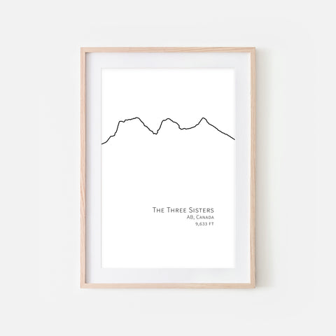 Three Sisters AB Canada - Mountain Wall Art - Minimalist Line Drawing - Black and White Print, Poster or Printable Download