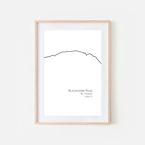 Blackcomb Peak BC Canada - Ski Mountain Wall Art - Minimalist Line Drawing - Black and White Print, Poster or Printable Download