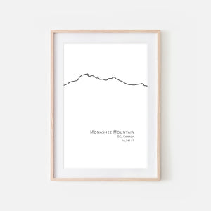 Monashee Mountain BC Canada Wall Art - Minimalist Line Drawing - Black and White Print, Poster or Printable Download
