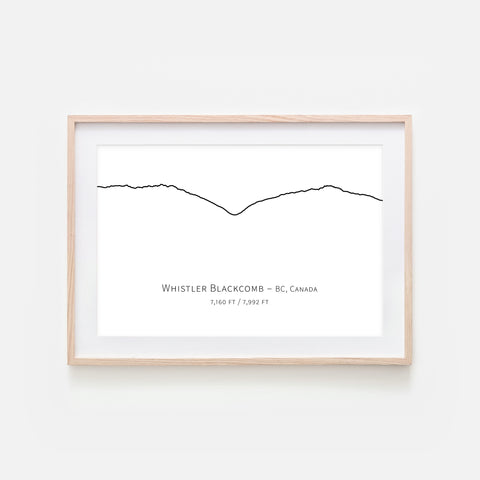 Whistler Blackcomb BC Canada - Mountain Wall Art - Minimalist Line Drawing - Black and White Print, Poster or Printable Download - Horizontal