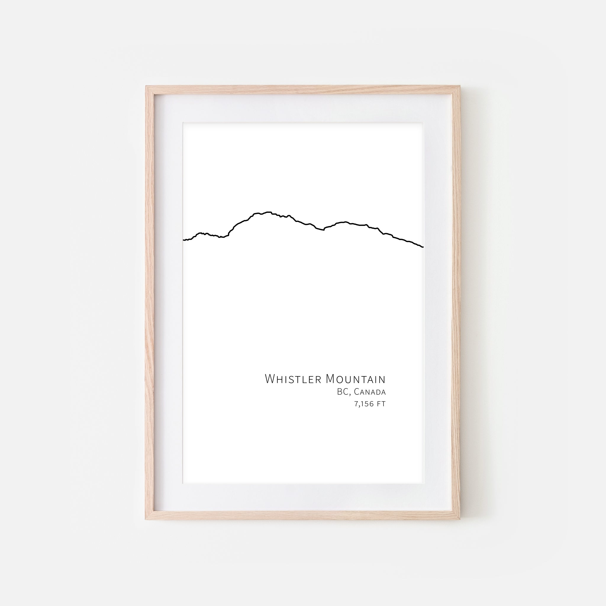 Whistler Mountain BC Canada Wall Art - Minimalist Line Drawing - Black and White Print, Poster or Printable Download