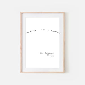 Mont Tremblant QC Canada - Mountain Wall Art - Minimalist Line Drawing - Black and White Print, Poster or Printable Download
