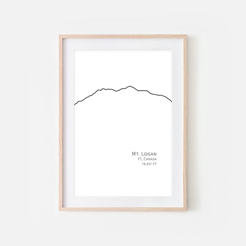 Mount Logan Yukon Canada - Mountain Wall Art - Minimalist Line Drawing - Black and White Print, Poster or Printable Download