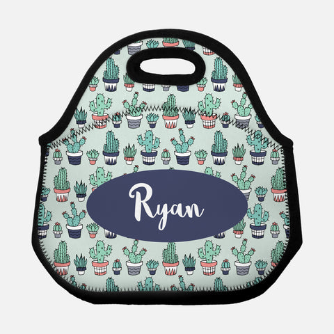 Cactus Succulent Plant Pattern Navy Blue Coral Mint Green Personalized Name Lunch Tote Bag Neoprene Insulated - By Happy Cat Prints