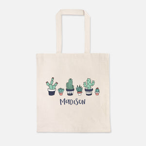 Cactus Succulent Plant Girl Boy Personalized Name Kids Tote Bag for School Preschool Kindergarten Books - Natural Cotton Canvas - by Happy Cat Prints