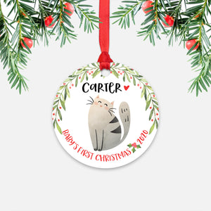 Cat Pet Animal Personalized Baby's First Christmas Ornament for Boy or Girl - Round Aluminum - Red ribbon