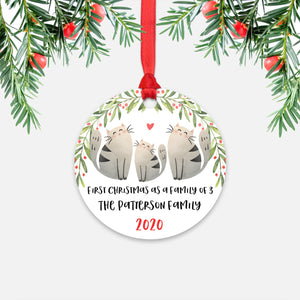 Cat Animal First Christmas as a Family of 3 Personalized Ornament for New Baby Girl Boy - Round Aluminum - Red ribbon