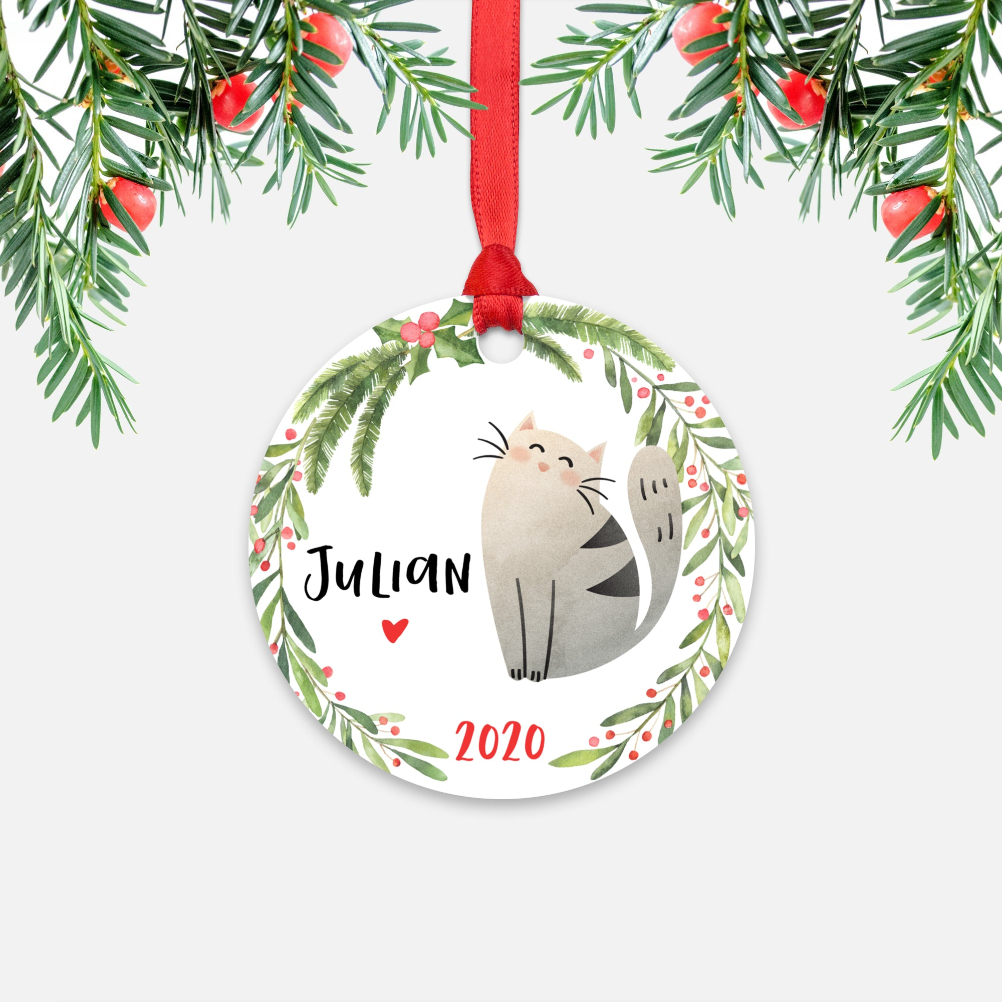 Cat Pet Animal Personalized Kids Name Christmas Ornament for Boy or Girl - Round Aluminum - Red ribbon