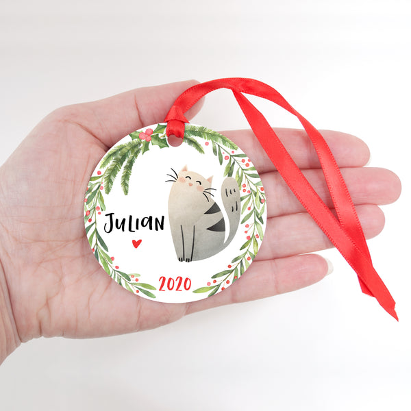Cat Pet Animal Personalized Kids Name Christmas Ornament for Boy or Girl - Round Aluminum - In hand