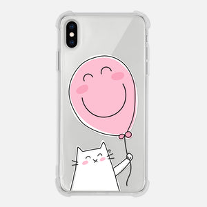 Cat Pink Balloon Smiley Cat Lover Gift Clear iPhone Case for XR XS Max X 8 7 6 6s Plus - By Happy Cat Prints
