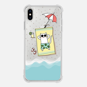 Cat Beach Ocean Waves Summer Fun Cat Lover Gift Clear iPhone Case for XR XS Max X 8 7 6 6s Plus - By Happy Cat Prints