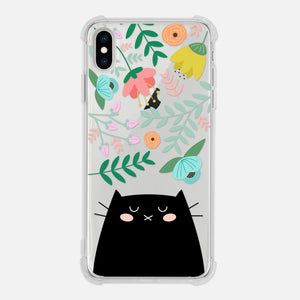 Black Cat Floral Flowers Leaves Colorful Cute Cat Owner Gift Clear iPhone Case for XR XS Max X 8 7 6 6s Plus - By Happy Cat Prints