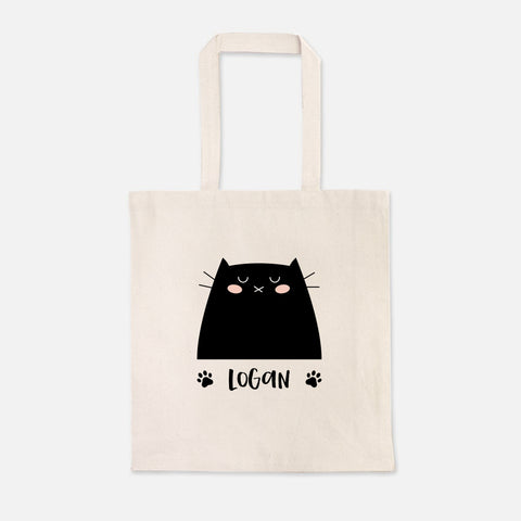 Black Cat Cute Cat Lover Girl Boy Personalized Name Kids Tote Bag for School Preschool Kindergarten Books - Natural Cotton Canvas - by Happy Cat Prints
