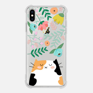 Calico Cat Floral Flowers Leaves Colorful Cute Cat Owner Gift Clear iPhone Case for XR XS Max X 8 7 6 6s Plus - By Happy Cat Prints