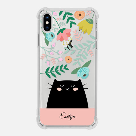 Black Cat Floral Flowers Leaves Colorful Pastel Pink Personalized iPhone Case Clear 6 6s 7 Plus 8 Plus X XR XS Max - By Happy Cat Prints