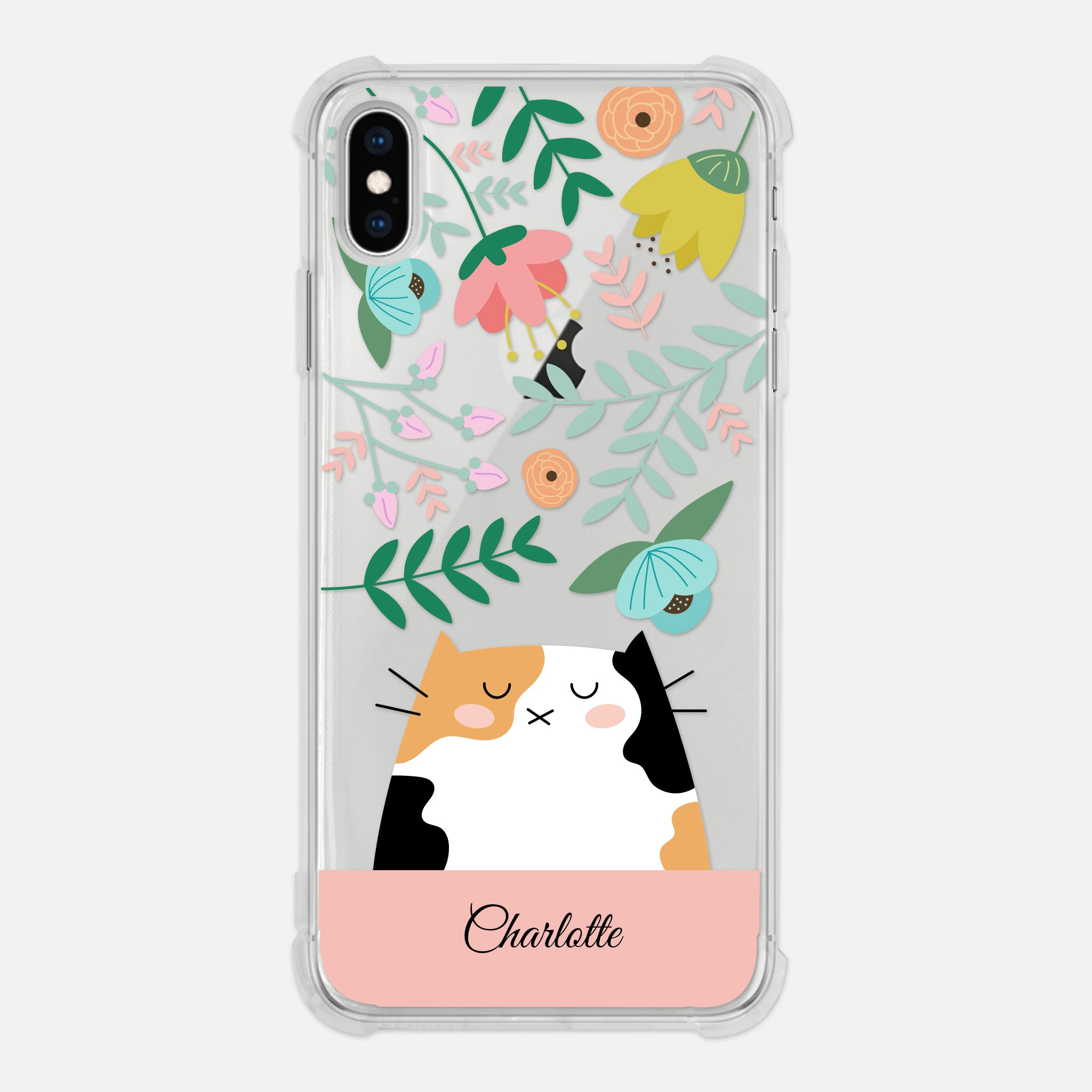 Calico Cat Floral Personalized Clear Iphone Case