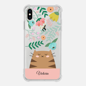 Brown Tabby Cat Floral Flowers Leaves Colorful Pastel Pink Personalized iPhone Case Clear 6 6s 7 Plus 8 Plus X XR XS Max - By Happy Cat Prints