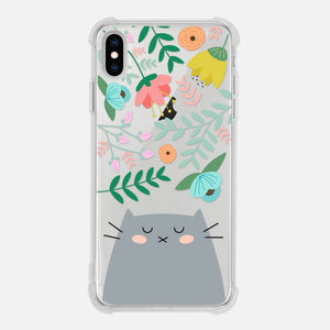 Gray Cat Floral Flowers Leaves Colorful Cute Cat Owner Gift Clear iPhone Case for XR XS Max X 8 7 6 6s Plus - By Happy Cat Prints