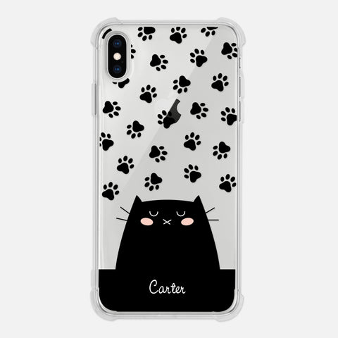 Black Cat Paw Prints Personalized iPhone Case Clear 6 6s 7 Plus 8 Plus X XR XS Max - By Happy Cat Prints