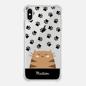 Brown Tabby Cat Paw Prints Black Personalized iPhone Case Clear 6 6s 7 Plus 8 Plus X XR XS Max - By Happy Cat Prints
