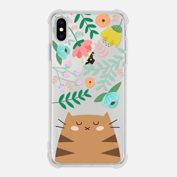 Brown Tabby Cat Floral Flowers Leaves Colorful Cute Cat Owner Gift Clear iPhone Case for XR XS Max X 8 7 6 6s Plus - By Happy Cat Prints
