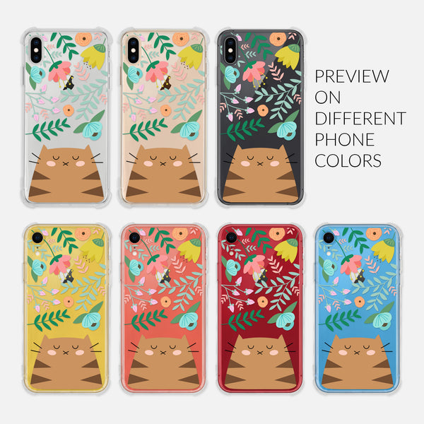 Brown Tabby Cat Floral Flowers Leaves Colorful Cute Cat Owner Gift - Preview on Different Phone Colors - Silver Rose Gold Black Yellow Coral Red Blue - Clear iPhone Case for 6 6s 7 8 Plus X XR XS Max - By Happy Cat Prints