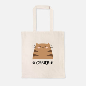 Brown Tabby Cat Cute Cat Lover Girl Boy Personalized Name Kids Tote Bag for School Preschool Kindergarten Books - Natural Cotton Canvas - by Happy Cat Prints