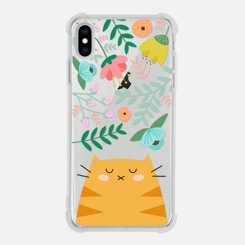 Orange Tabby Cat Floral Flowers Leaves Colorful Cute Cat Owner Gift Clear iPhone Case for XR XS Max X 8 7 6 6s Plus - By Happy Cat Prints