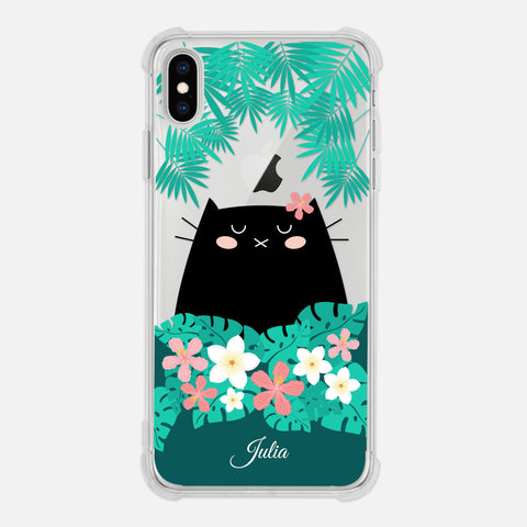Black Cat Tropical Exotic Floral Flowers Palm Tree Leaves Coral Pink Green Personalized iPhone Case Clear 6 6s 7 Plus 8 Plus X XR XS Max - By Happy Cat Prints