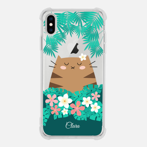 Brown Tabby Cat Tropical Exotic Floral Flowers Palm Tree Leaves Coral Pink Green Personalized iPhone Case Clear 6 6s 7 Plus 8 Plus X XR XS Max - By Happy Cat Prints