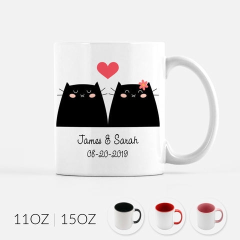 Personalized Black Cat Couple Ceramic Coffee Mug for Animal Lover - By Happy Cat Prints