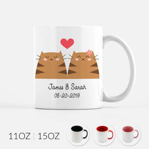 Personalized Brown Tabby Cat Couple Ceramic Coffee Mug for Animal Lover - By Happy Cat Prints