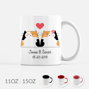 Personalized Calico Cat Couple Ceramic Coffee Mug for Animal Lover - By Happy Cat Prints