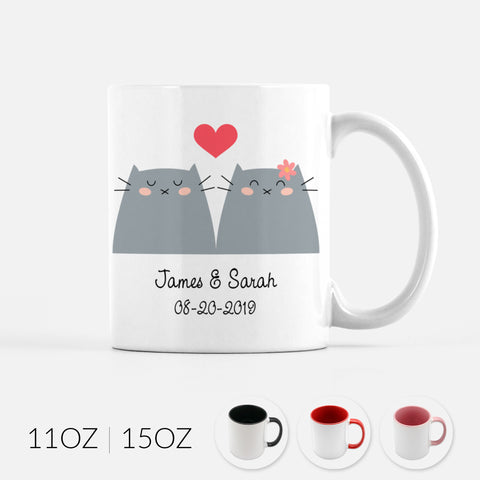 Personalized Gray Cat Couple Ceramic Coffee Mug for Animal Lover - By Happy Cat Prints