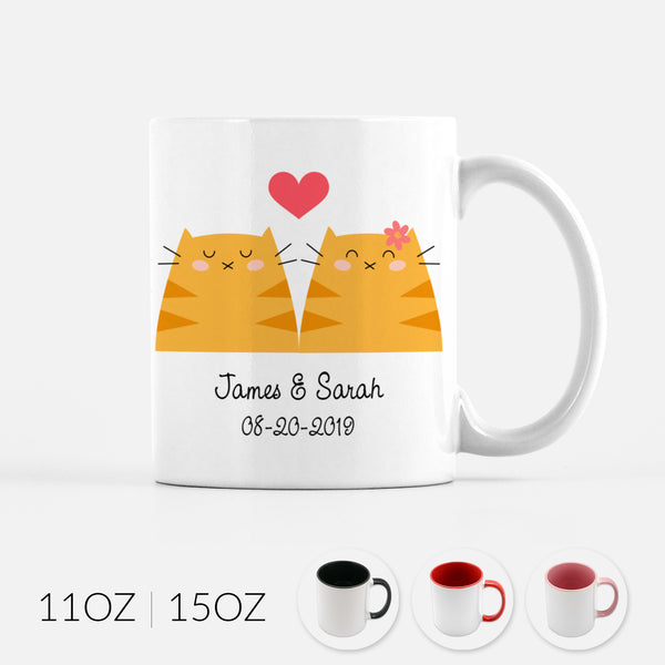 Personalized Orange Tabby Cat Couple Ceramic Coffee Mug for Animal Lover - By Happy Cat Prints