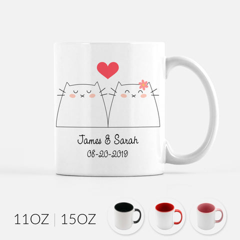 Personalized White Cat Couple Ceramic Coffee Mug for Animal Lover - By Happy Cat Prints