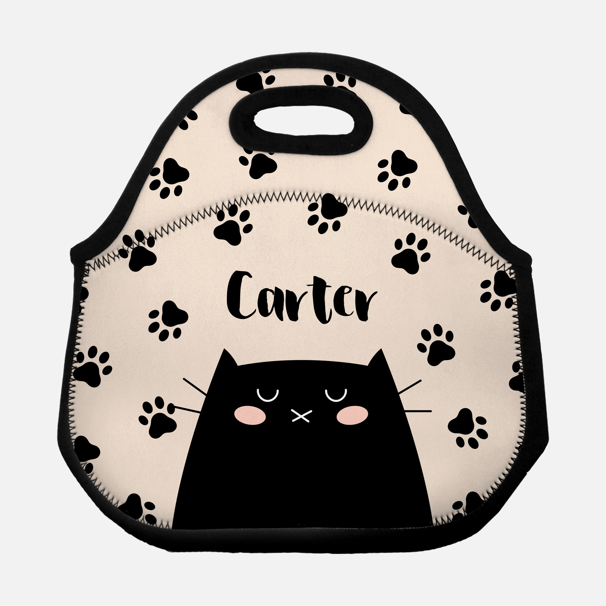 Black Cat Paw Prints Pattern Beige Personalized Name Lunch Tote Bag Neoprene Insulated - By Happy Cat Prints