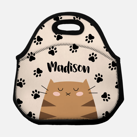 Brown Tabby Cat Paw Prints Pattern Beige Black Personalized Name Lunch Tote Bag Neoprene Insulated - By Happy Cat Prints