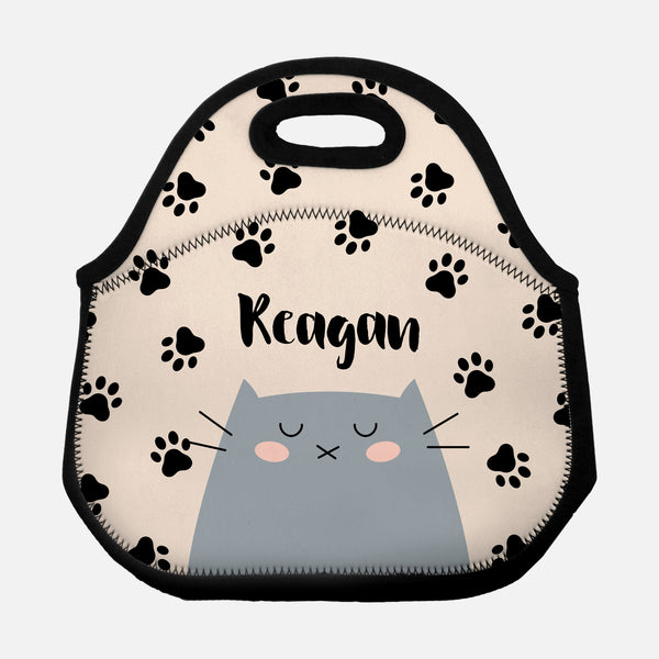 Gray Cat Paw Prints Pattern Beige Black Personalized Name Lunch Tote Bag Neoprene Insulated - By Happy Cat Prints