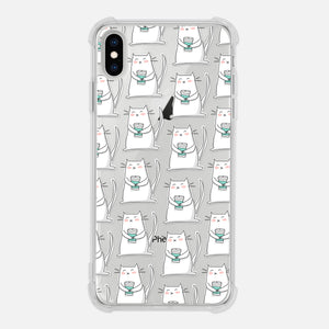 Cat Holding Cup Coffee Lover Gift Pattern Clear iPhone Case for XR XS Max X 8 7 6 6s Plus - By Happy Cat Prints