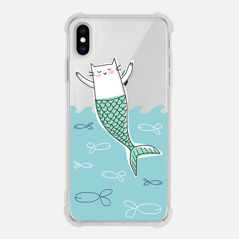 Cat Mermaid Lover Gift Aqua Blue Waves Fish Cute Funny Clear iPhone Case for XR XS Max X 8 7 6 6s Plus - By Happy Cat Prints