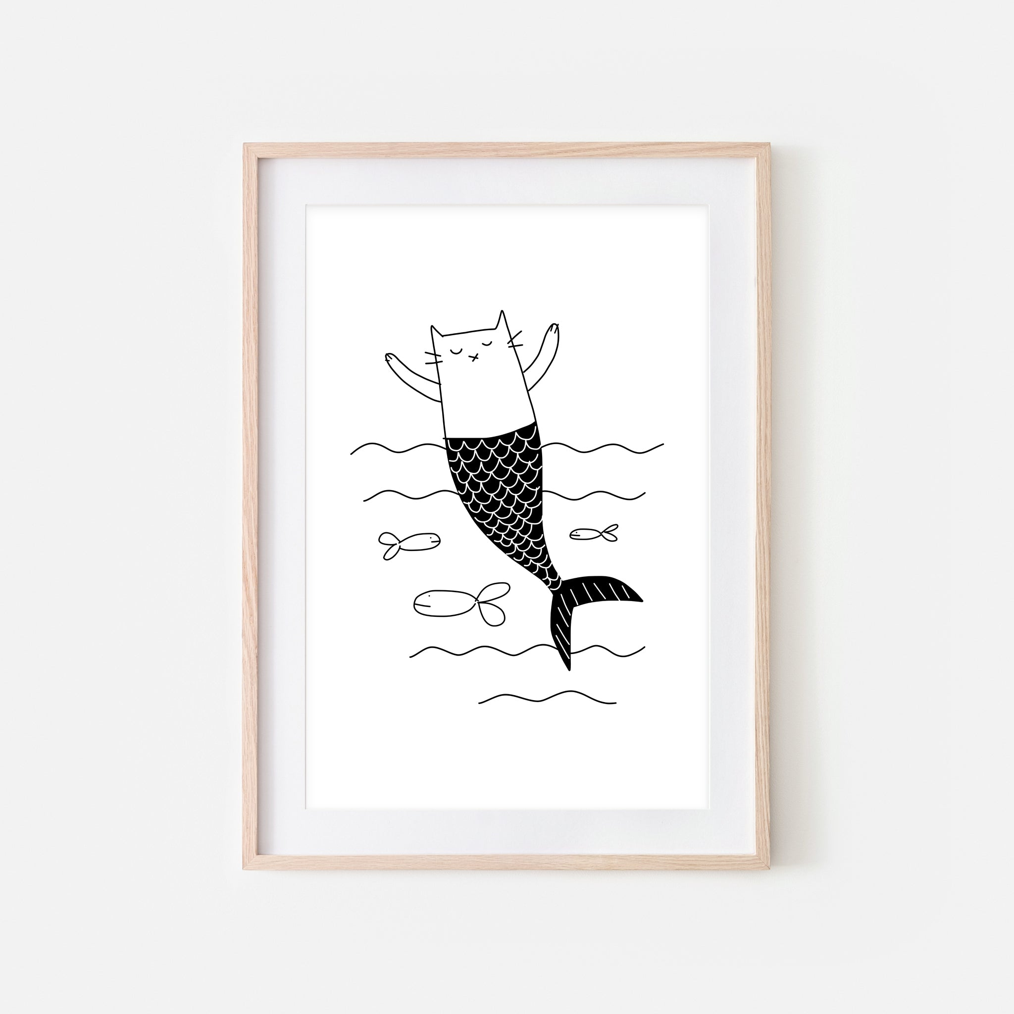Mermaid Cat Wall Art - Black and White Line Drawing - Bathroom Kids Room Decor - Print, Poster or Printable Download