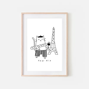 Pawris - French Cat in Paris Wall Art - Black and White Line Drawing - Wine Food Kitchen Decor - Print, Poster or Printable Download