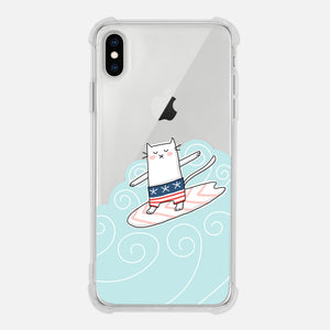 Cat Surf Lover Gift Surfing Surfer Surfboard Waves Fun Clear iPhone Case for XR XS Max X 8 7 6 6s Plus - By Happy Cat Prints