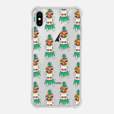Cat Hawaiian Dancer Tropical Fruits Funny Clear iPhone Case for XR XS Max X 8 7 6 6s Plus - By Happy Cat Prints