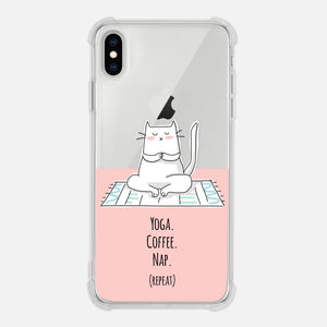 Cat Yoga Coffee Nap Repeat Yogi Yoga Lover Gift Pink Funny Clear iPhone Case for XR XS Max X 8 7 6 6s Plus - By Happy Cat Prints