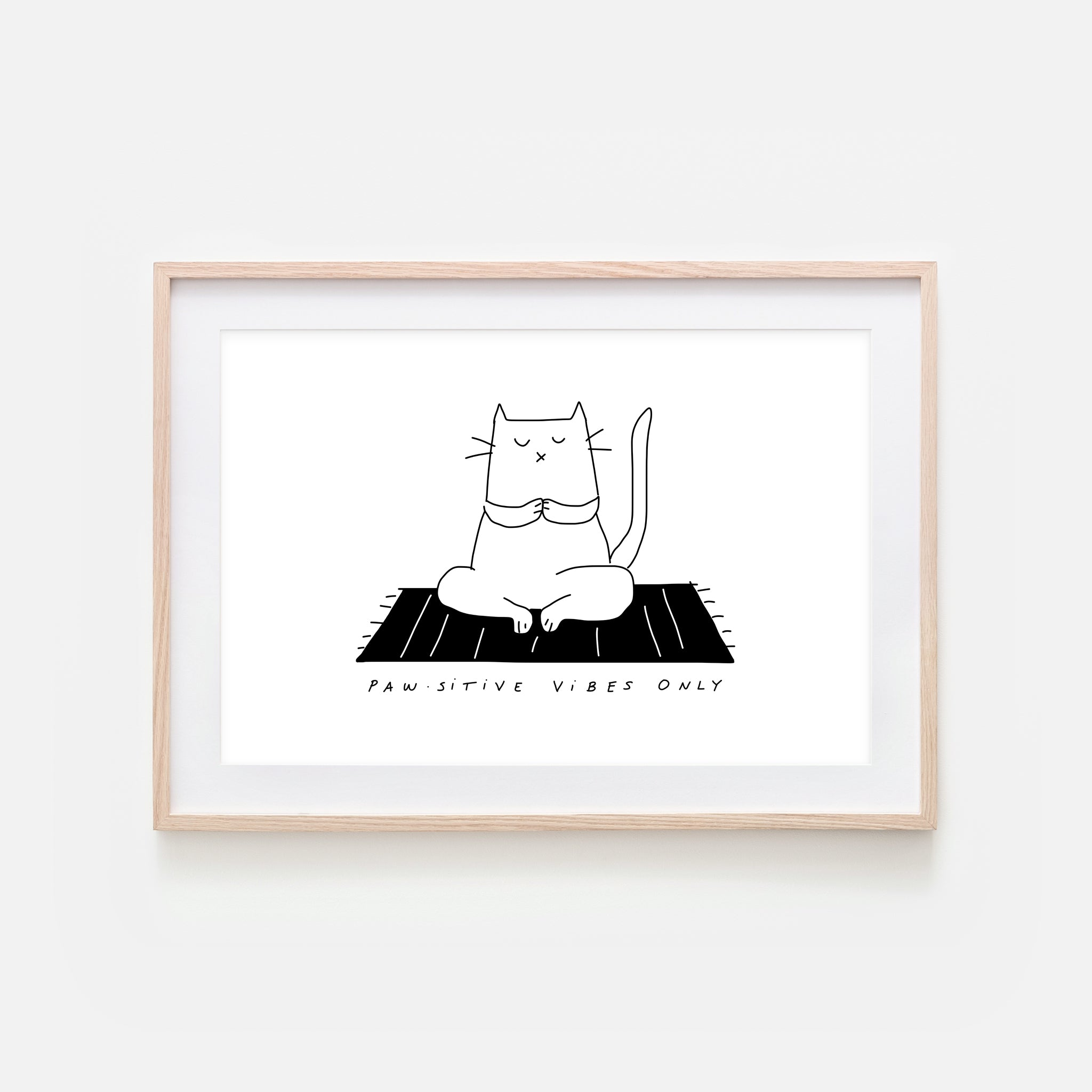 Pawsitive Vibes Only - Yoga Wall Art - White Cat Line Drawing - Fitness Exercise Room Decor - Print, Poster or Printable Download