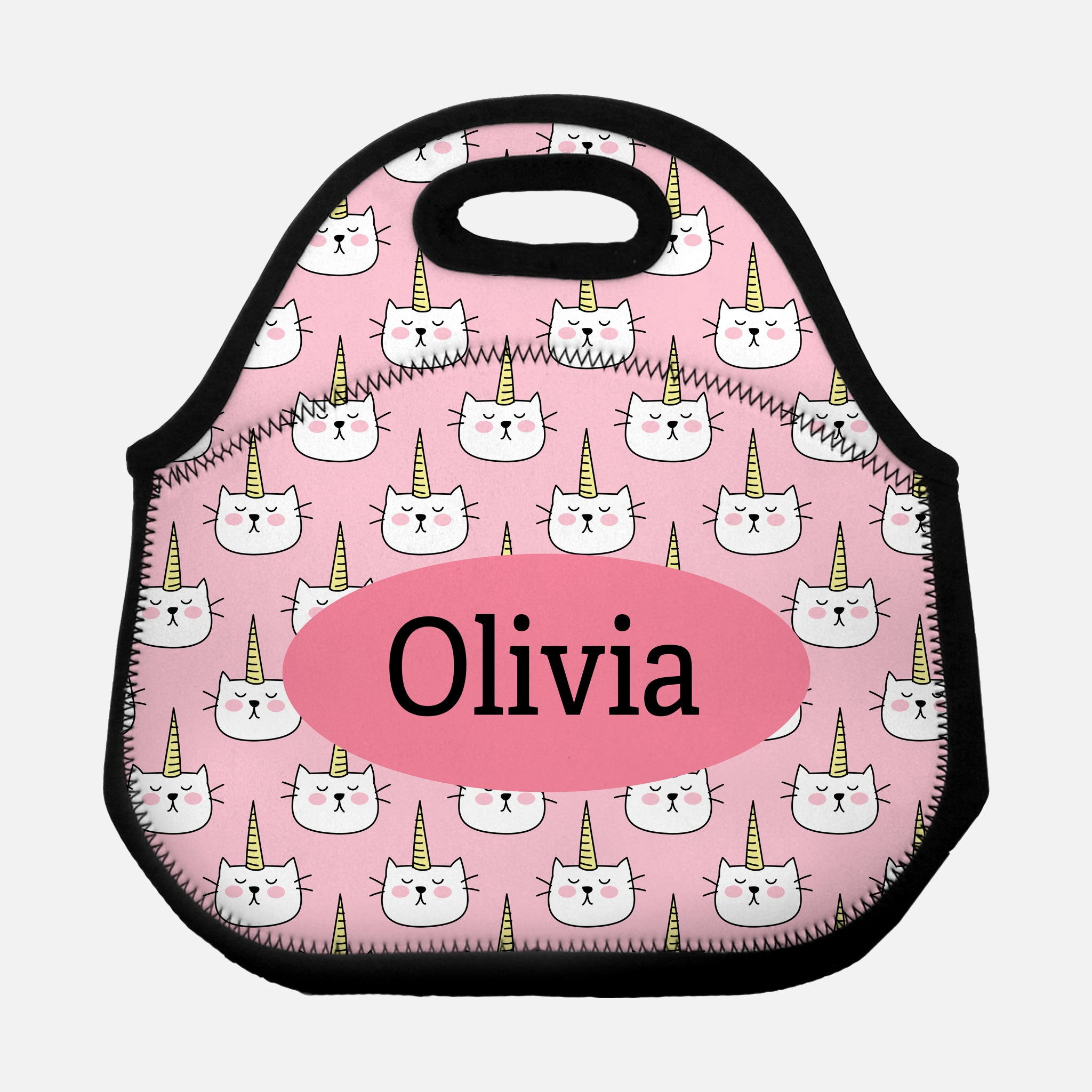 Caticorn Cat Unicorn Pattern PATTCATICORN1 Pink Personalized Name Lunch Tote Bag Neoprene Insulated - By Happy Cat Prints